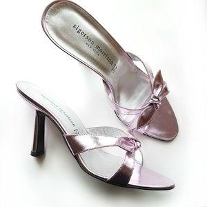 Sigerson Morrison metallic pink sandal heels 7.5