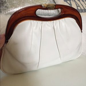 Handbags - Vintage White Clutch Evening Bag Plastic Handle