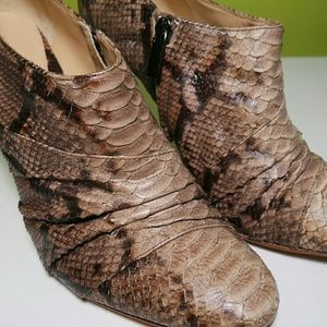Snake high heel ankle booties