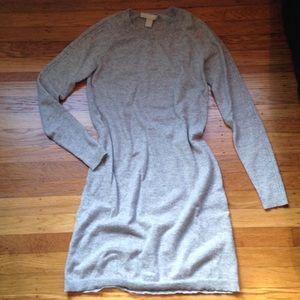 Banana Republic 100% Cashmere Gray Sweater Dress