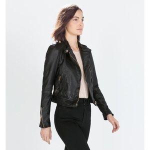 cf9a0904 Zara Jackets & Coats | Sale Rose Gold Leather Jacket | Poshmark