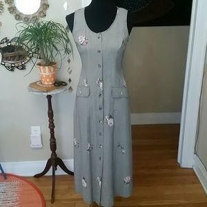 VTG S.L. Button Down Tie Dress! Size S/M♡