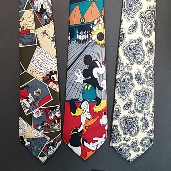 37cb53d8c64c Mercedes Accessories | Career Vintage 3 Mickey Mouse Ties Silk ...