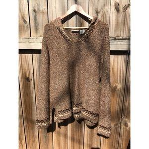 Faded Glory Tan Knit Cardigan/Hoodie