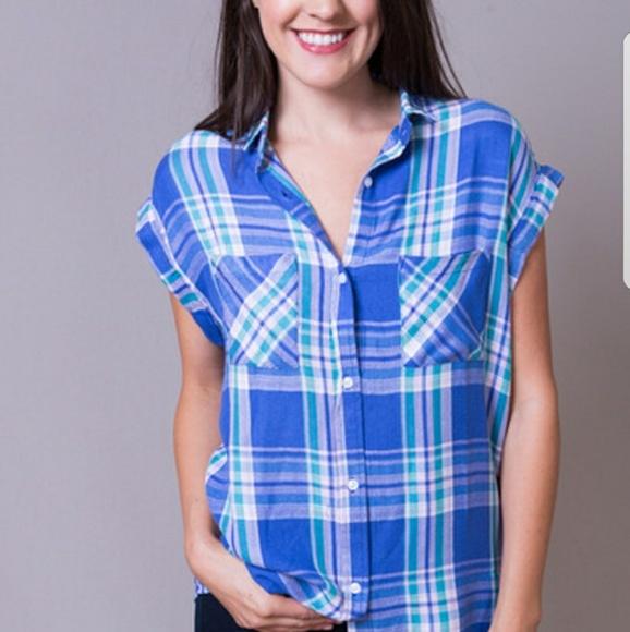 395eda7867cb Rails Tops   Britt Short Sleeve Shirt In Blue Violet   Poshmark