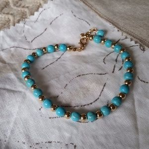 Jewelry - Aqua Beaded Anklet