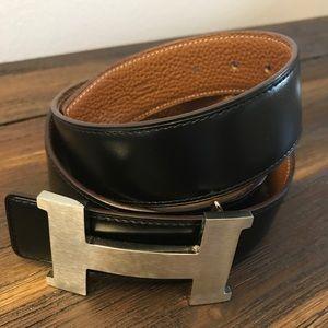 Hermes black/ brown belt size 34/ 95