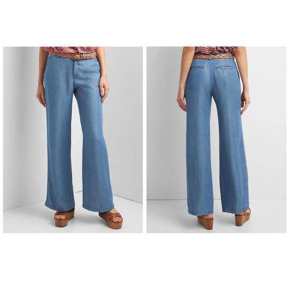 01258aa075f GAP Tencel Chambray Wide Leg Trousers