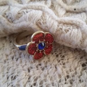 Jewelry - Shiny Quirky Red Flower Ring Size 6.5-7