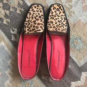 Pony hair leopard suede loafers