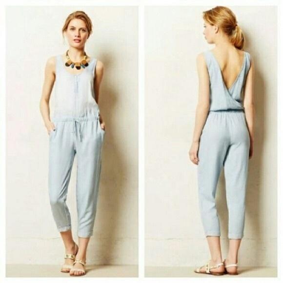 5260dfc610b4 Anthropologie Pants - ANTHROPOLOGIE Cloth   Stone Chambray Jumpsuit