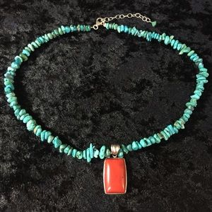 """Genuine Sterling Turquoise red coral necklace 16"""""""