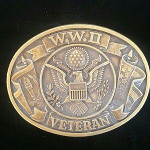 Solid Brass Belt Buckle World War II Veteran