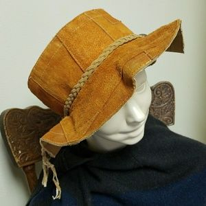 b6987962fa0 Vintage Accessories - Groovy 60 s 70 s Suede Leather Floppy Hippy Hat