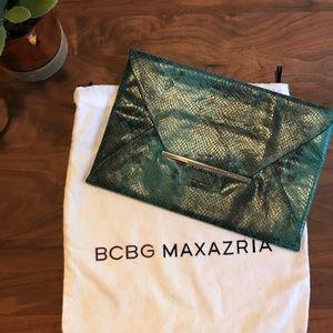 BCBG Teal Green & Black Envelope Clutch