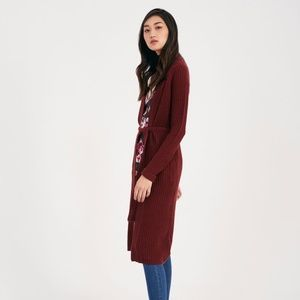 Sweaters - Maroon Burgundy Long Sleeve Knit Cardigan