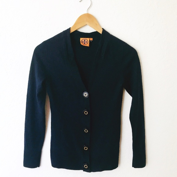 Tory Burch - Tory Burch Navy Blue Merino Wool Button Sweater from ...