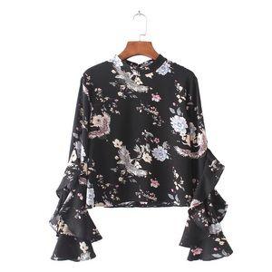 Beautiful black ruffle blouse