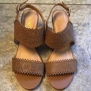 XOXO Brown Wedge Sandals