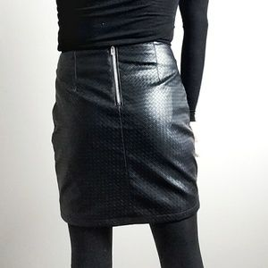 Forever 21 Skirts - Black Quilted Faux Leather Mini Skirt Moto Style M