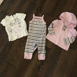 Gap 3 pc baby girl romper and shirts set