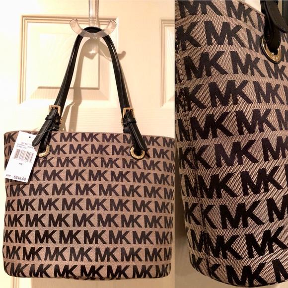KORS Michael Kors Handbags - Sold: Michael Kors MK Jet Set Tote Jacquard Beige