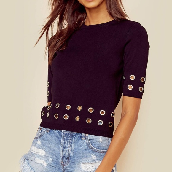 MINKPINK Tops - Eyelet Rib Knit Top
