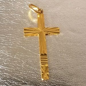 22k 916 Cross Solid Gold Pendant 1.5x3/4