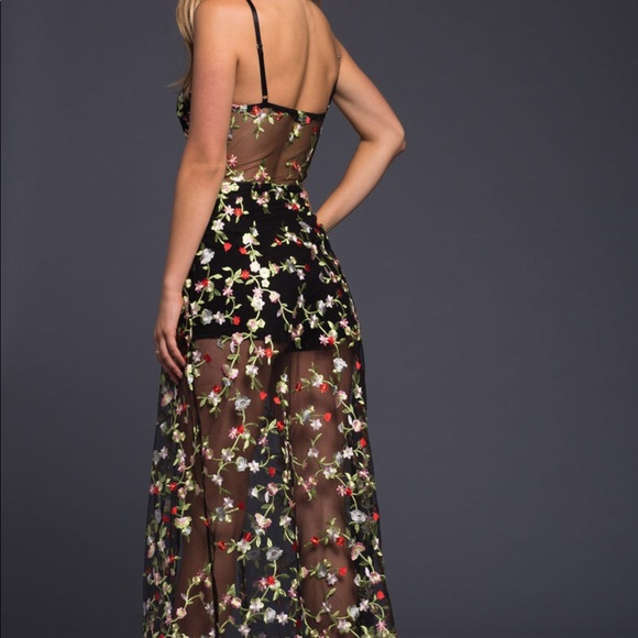 Honey Punch Dresses & Skirts - Embroidered Floral Sheer Maxi Dress