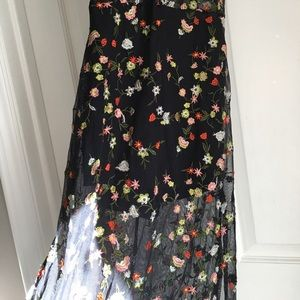 Honey Punch Dresses - Embroidered Floral Sheer Maxi Dress