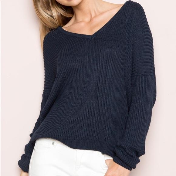 Brandy Melville Sweaters - ✨ Brandy Melville Navy V-Neck Sweater ✨ cda5a7536