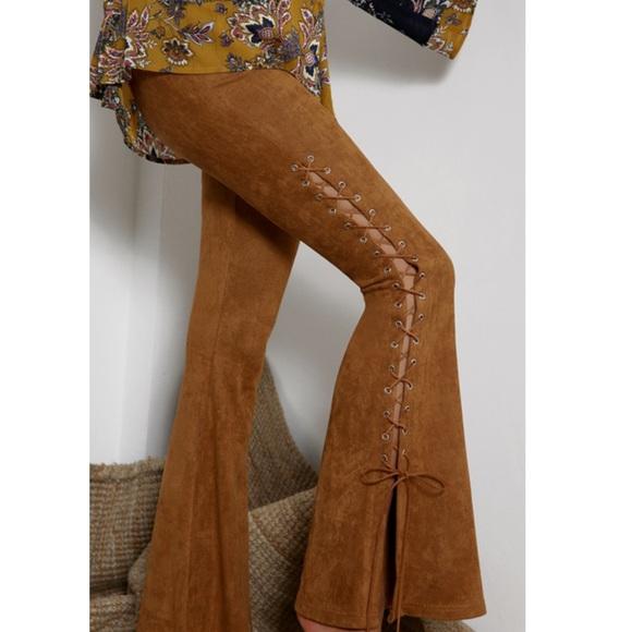 Pants - Suede Flair Lace Up pants