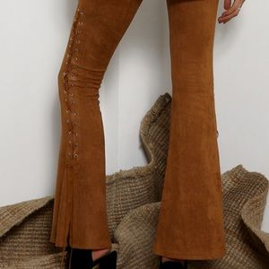 Pants - Suede Flair Lace Up pants