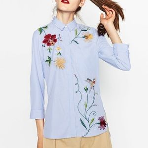 Zara embroidered pinstriped shirt collar button