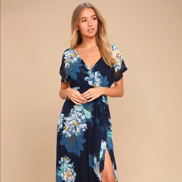 f50506c9bac5 Lulu's Dresses | On The Pond Navy Blue Floral Print Maxi Dress ...