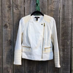 H&M moto jacket faux leather & gold zippers