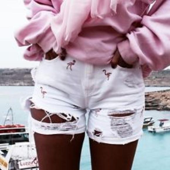 67262f74 Zara Shorts | White Ripped Flamingo | Poshmark