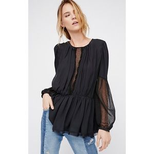 NWT Free People Soul Serene Black Top Blouse