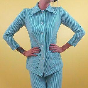 Other - Vintage 70's Striped Pantsuit - Blue