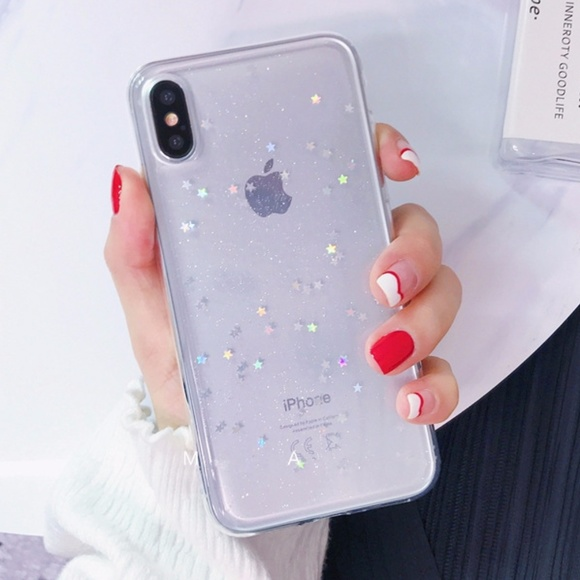 online store 7836c 2a3f9 iPhone X Holographic Clear Star Case