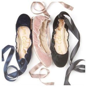 HP Sam Edelman Fallon Velvet LaceUp Ballet Flats