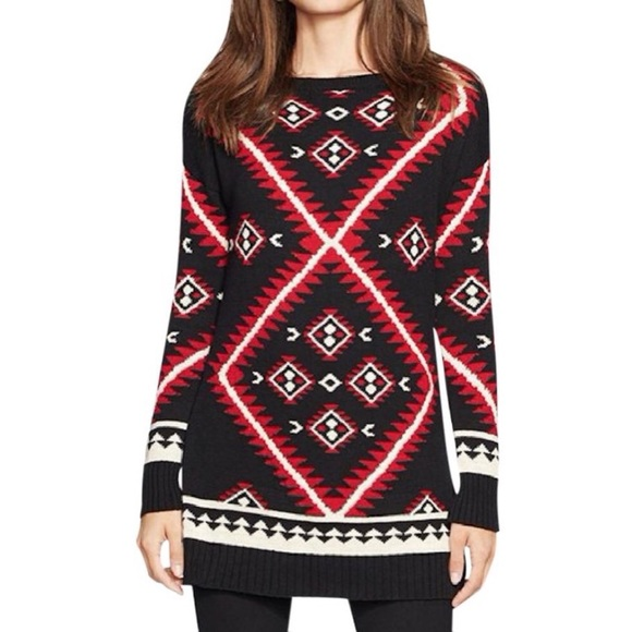 Lauren Ralph Geometric Native Print Tunic Sweater