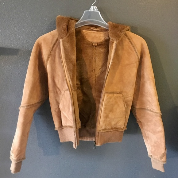 16382f996d5 Ugg hooded leather jacket shearling style coat