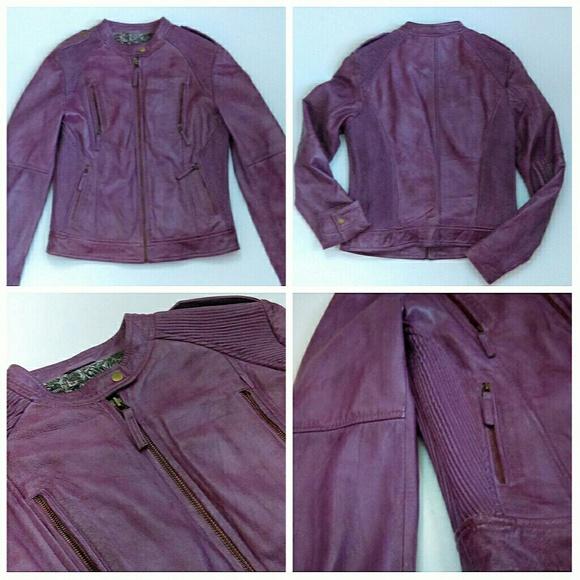 Oakwood The Leather Brand Jackets & Coats - SALE ⬇Purple Spiked Moto Jacket Like New!