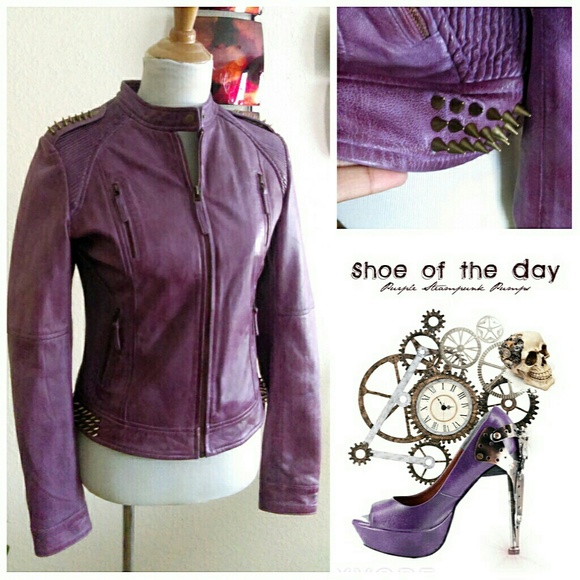 Oakwood The Leather Brand Jackets & Blazers - SALE ⬇Purple Spiked Moto Jacket Like New!