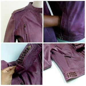 Oakwood The Leather Brand Jackets & Coats - SALE ⬇Purple Spiked Moto Jacket Like New!