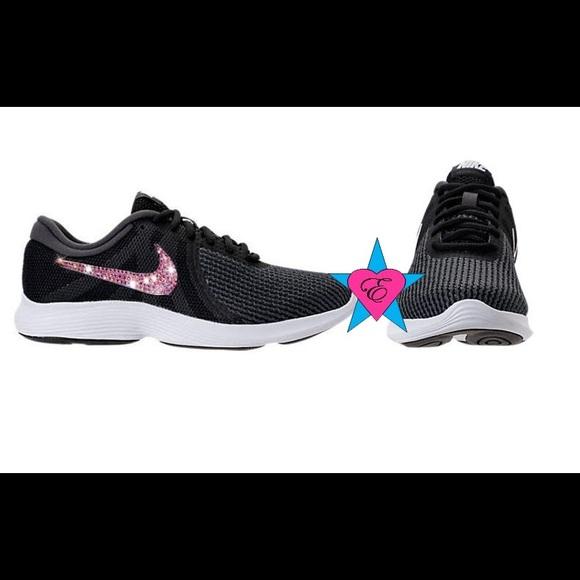 e810abfa8f2f7 Women's Black Crystal Nike Revolution 4 Running Sh