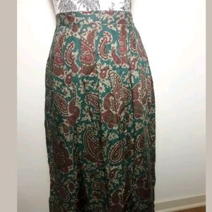 🦋 Land's End Pleated Paisley Print Skirt Size 10]