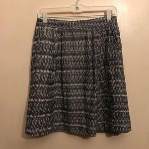 Eileen Fisher Organic Cotton Gray Ikat Skirt Sz XS