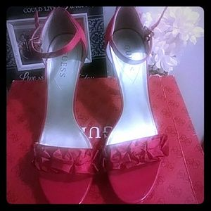 Red satin Guess sandles